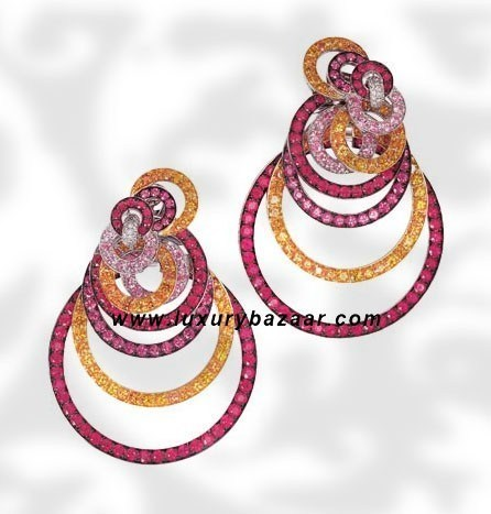 Circles Ruby Sapphire and Diamond White Gold Earrings
