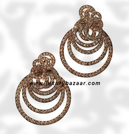 Circles Brown Diamond Pink Gold Earrings