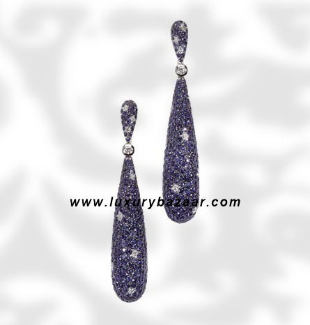 Drop Blue Sapphire and Diamond White Gold Earrings