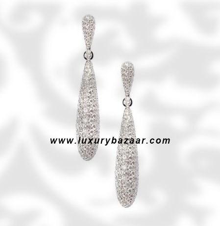 Drop Diamond White Gold Earrings