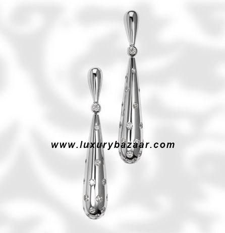 Drop Diamond Set Whtie Gold Earrings