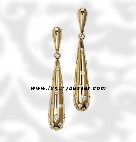 Drop Diamond Set Yellow Gold Earrings