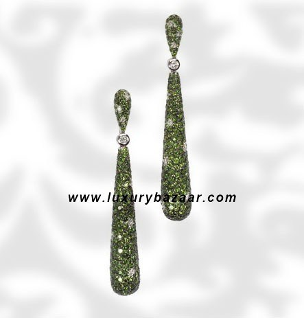 Drop Tsavorite and Diamond White Gold Earrings