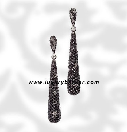 Drop Black and White Diamond White Gold Earrings
