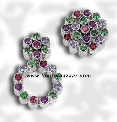 Cartouccie Multicolor Gem Stone White Gold Earrings