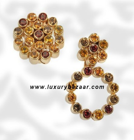Cartouccie Multicolor Gem Stone Yellow Gold Earrings