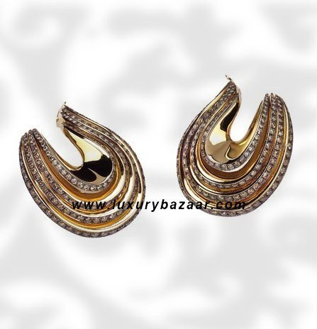 Folded 4 Band Brown Diamond Yellow Gold Earrings