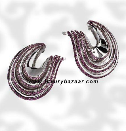 Folded 4 Band Purple Sapphire White Gold Earrings