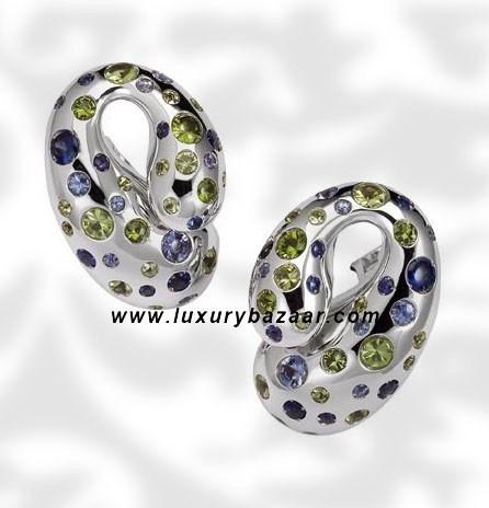 Contrario Sapphire Tsavorite Peridot White Gold Earrings