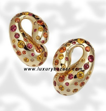 Contrario Sapphire and Brown Diamond Yellow Gold Earrings