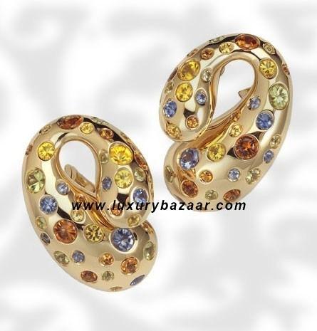 Contrario Sapphire Peridot Spessarite Yellow Gold Earrings
