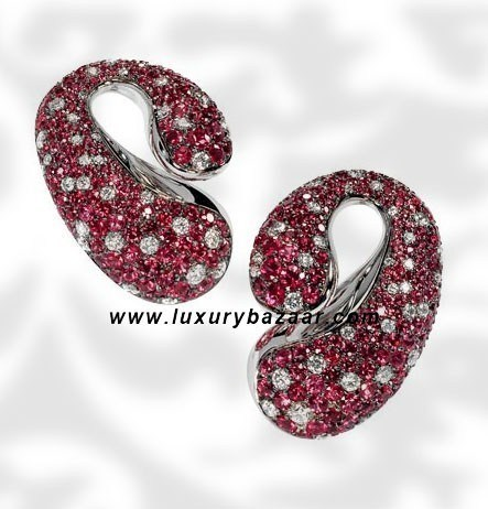 Contrario Spinels and Diamonds White Gold Earrings