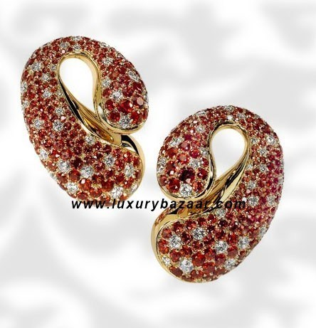 Contrario Orange Sapphire and Diamond Yellow Gold Earrings