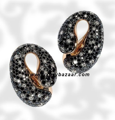 Contrario Black and White Diamond Pink Gold Earrings