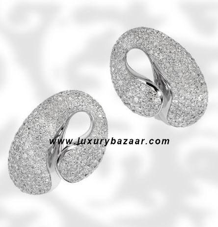 Contrario Full Diamond White Gold Earrings