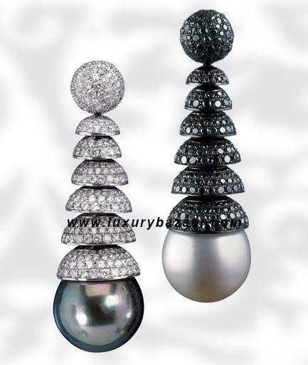 Black Diamond Drop Pearl and Diamond White Gold Earrings