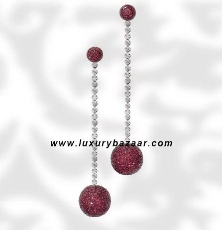 Ball Long Dangle Ruby and Diamond White Gold Earrings