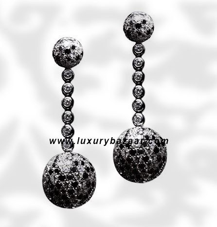 Ball Dangle Full Black and White Diamond White Gold Earrings
