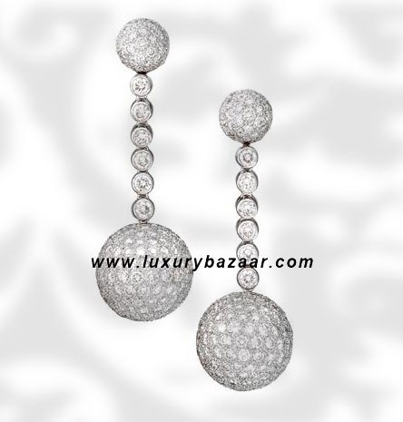 Ball Dangle Full Diamond White Gold Earrings