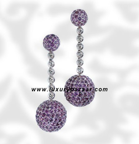 Ball Dangle Amethysts and Diamond White Gold Earrings