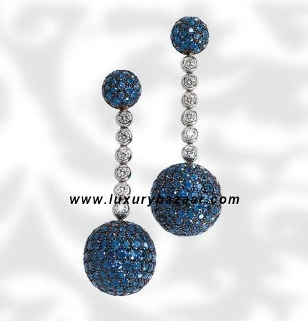 Ball Dangle Blue Sapphire and Diamond White Gold Earrings