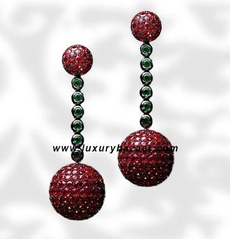 Ball Dangle Ruby and Emerald White Gold Earrings