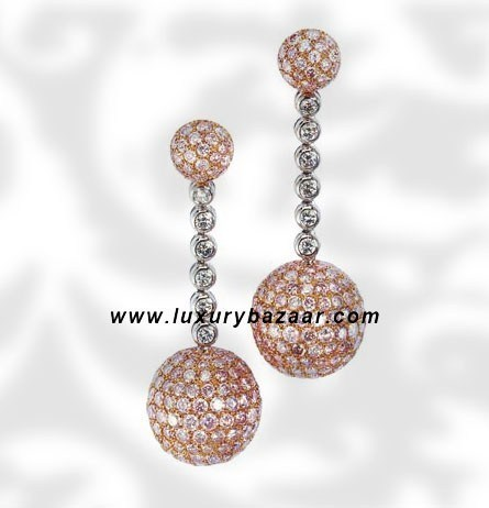 Ball Dangle Pink and White Diamond White Gold Earrings