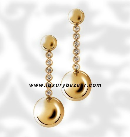 Ball Dangle Yellow Gold Diamond Earrings