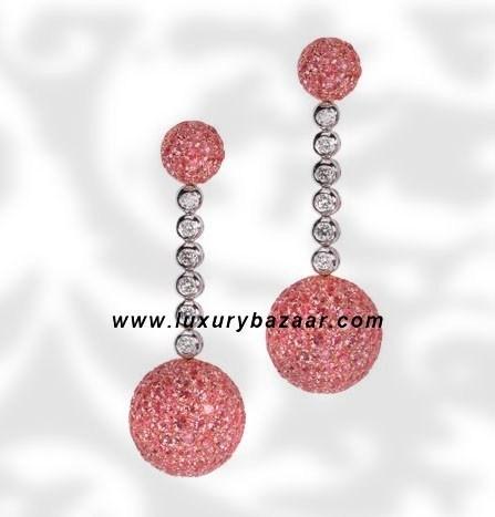Ball Dangle Pink Sapphire Diamond White Gold Earrings