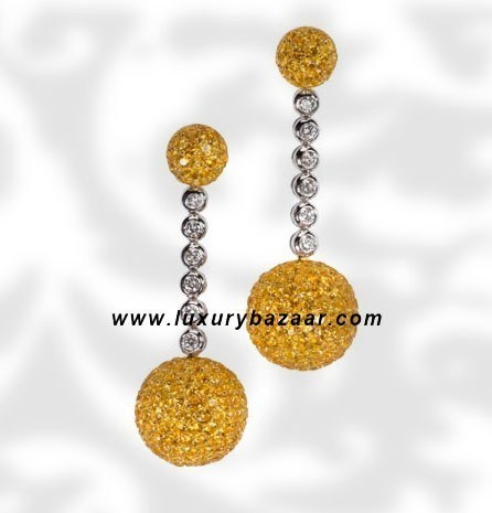 Ball Dangle Yellow Sapphire Diamond Yellow and White 9