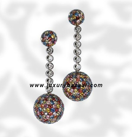 Ball Dangle Multicolor Sapphire Diamond White Gold Earrings