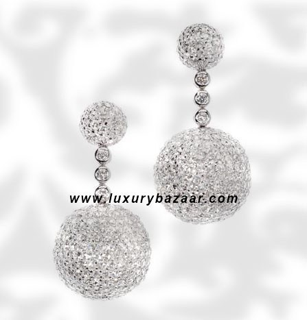 Ball Short Dangle Full Diamond White Gold Earrings