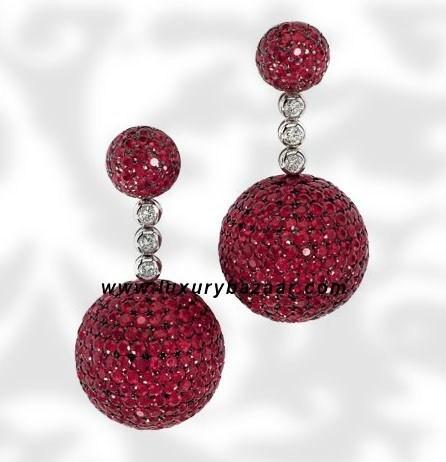 Ball Short Dangle Ruby and Diamond White Gold Earrings