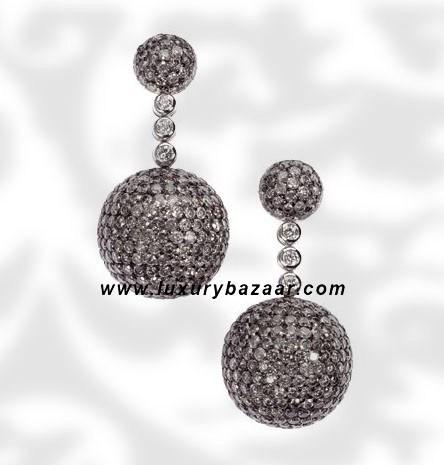 Ball Short Dangle Grey and White Diamond White Gold Earrings