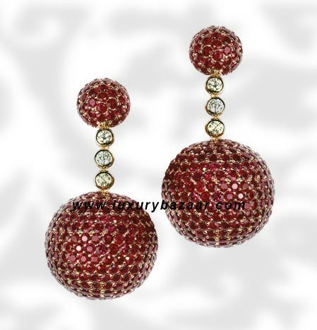 Ball Short Dangle Ruby and Diamond Pink Gold Earrings