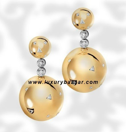 Ball Short Dangle Diamond Yellow Gold Earrings
