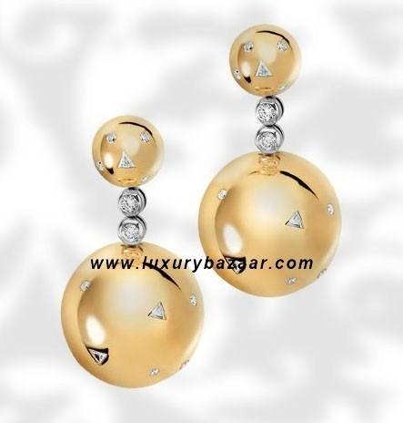 Ball Short Dangle Diamond Yellow Gold Earrings