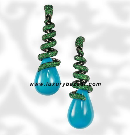 Drops Turquoise and Emerald White Gold Earrings