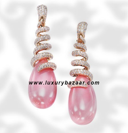 Drops Coral and Diamond Yellow Gold Earrings
