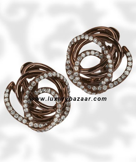 Browny Brown Diamond Brownished Pink Gold Earrings