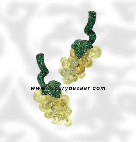Grape Pranite and Emerald White Gold Earrings