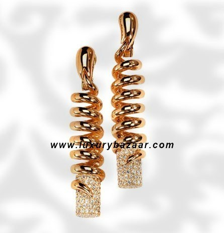 Dangle Spiral Diamond Polished Pink Gold Earrings