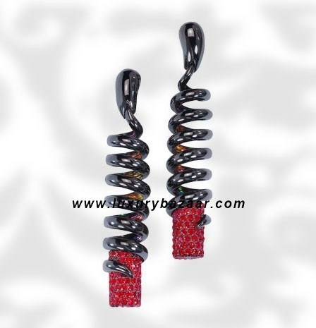 Dangle Spiral Ruby Blackened White Gold Earrings