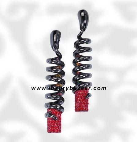 Dangle Spiral Ruby Blackened White Gold Earrings