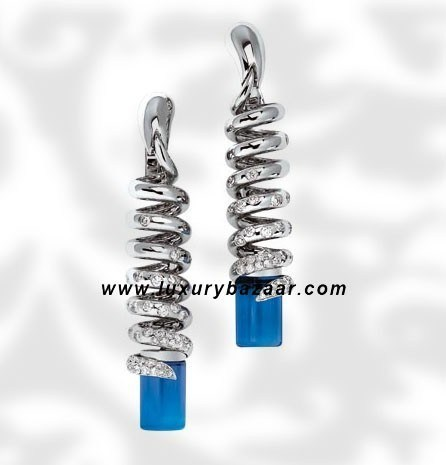 Dangle Spiral Blue Topaz Diamond White Gold Earrings