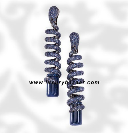 Dangle Spiral Cylinder Cut Blue Sapphire White Gold Earrings