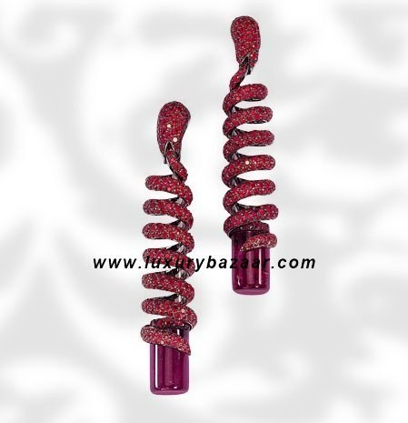 Dangle Spiral Cylinder Cut Tourmaline Ruby White Gold 1