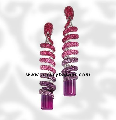 Dangle Spiral Cylinder Cut Amethyst Ruby White Gold Earrings