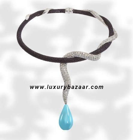 Galuchat Turquoise Drop Diamond White Gold Necklace