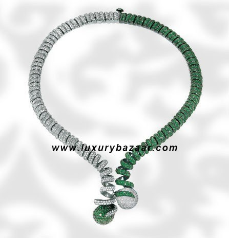 Spiral Ball Diamond and Emerald White Gold Necklace